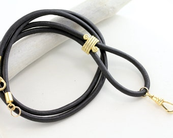 Leather Lanyard, Lanyard, ID Badge Lanyard, ID Badge Holder, Black Leather Lanyard, Black Leather ID Lanyard, Black Gold Lanyard, Id badge