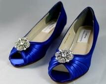 Royal Blue Wedding Shoes wedge -- 1 wedge heels- Low heel wedge