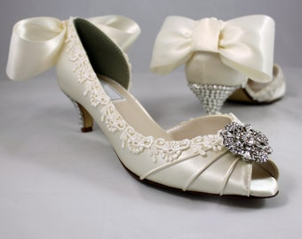 "Ivory Swarovski crystal heels 1.75""- Low heels - Wide shoes available"