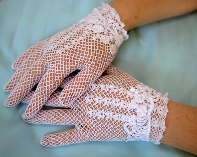 Featured listing image: White or Ivory lace bridal gloves