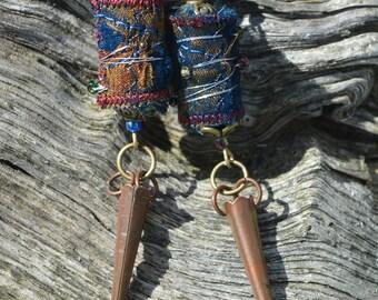 boho tribal earrings, festival jewellery, ethnic jewellery, textile earrings, upcycled, beaded, boho jewellery, ooak, handmade earrings