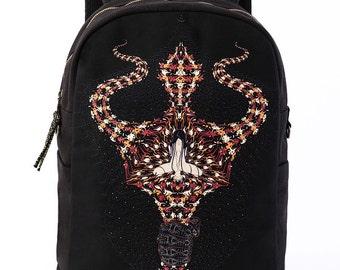 Black Canvas Backpack, Laptop Backpack, Screen Printed, Psychedelic, Hindu, Trishul, Festival Backpack, Cool Backpack