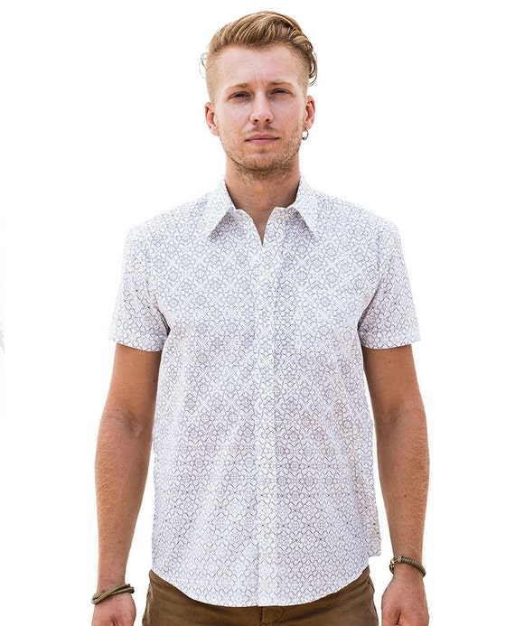 Mens fashion shirt white button down shirt short by iiisoliii for White short sleeve button down shirts for men