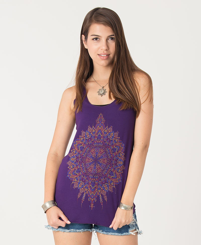 Psychedelic Women Tank Top Mandala Top Purple Blue Yoga
