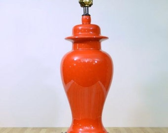 Vintage Base Switch Ginger Jar Table Lamp Burnt Orange