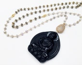 Long Beaded Black Budhha Pendant Necklace, Spiritual Ethnic Necklace, Pyrite Beads Necklace 108 Mala Bead Necklace Zen Buddhist Prayer Beads