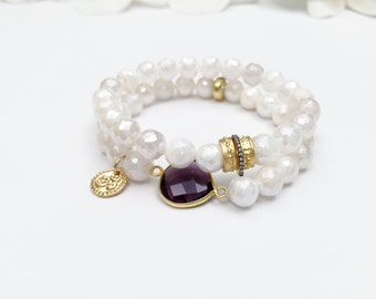 Silverite Beaded Bracelets with Gold Vermeil Charms and Beads, Amethyst Connector and White Topaz Pave Spacer