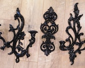 Wall Candle Sconces Black Gothic Home Decor Vintage /  Burwood / Syrocco / Dart Inc / Hollywood Regency / Paris Apartment Chic / Set of 3