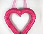 Pink Ribbon Valentine Door Wreath, Door Wreath, Heart Wreath, Wreath for Front Door, Small Wreath, Spring Wreath, Valentines Day Wreath