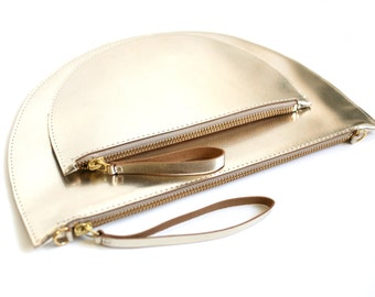 Half Moon Bag Shiny Gold, Wristlet Clutch, Clutch, Bridal Bag, Leather Clutch, Evening Bag, Available as Set with Mini Clucth