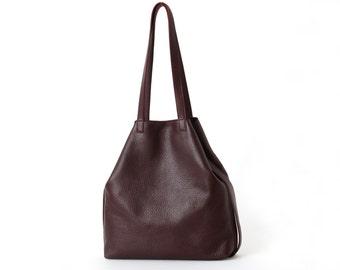 Leather Tote Multi-functional Bordeaux,  leather shopper, crossbody bag, big shoulder bag