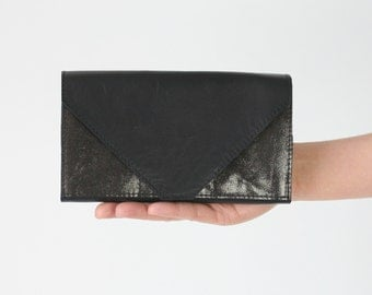 Black Clutch Wallet, secretary wallet, big leather wallet, envelope clutch,