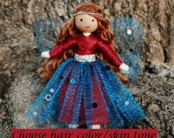 Blue Sparkle Fairy Waldorf Flower Fairy Doll -Dollhouse Bendy Doll