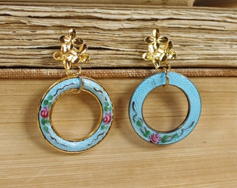 Kindred Spirits- Antique Guilloche Enamel Assemblage Earrings- Turquoise Aqua Blue, Pink Roses- Gold plated Pierced ear posts- Unique