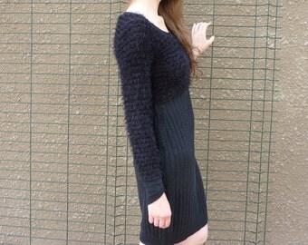 Black dress, jersey dress, recycled dress, warm dress, ready to ship, one of a kind dress