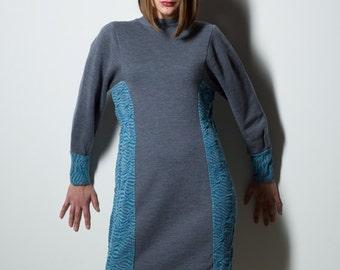 Grey dress, grey and blue dress, wool jersey dress, recycled dress, high collar dress, grey sweater dress, warm dress, sweater dress