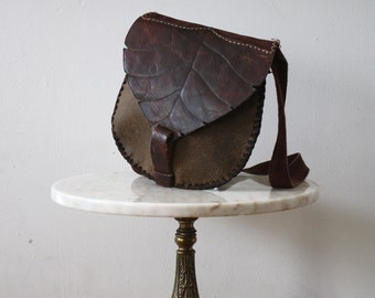 Bag Leather LEAF Brown Hippie Suede - 1980s Vintage