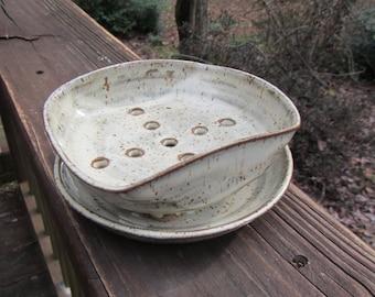 Ceramic Soap Dish and Plate, Soap Holder,  Wheel Thrown Soap Dish Set - Birch Glaze
