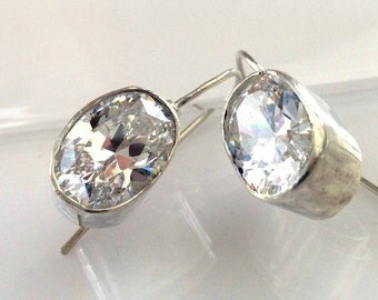Large Oval CZ and Sterling Silver Earrings, Handforged Dangles, Oval Cubic Zirconium Diamond, Crystal Earring Drops, Hand Made French Wires