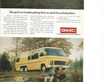 1974 Advertisement GMC MotorHome Motor Home Yellow Fishing Grandpa Grandson RV Recreational Vehicle Vacation Holiday Wall Art Decor