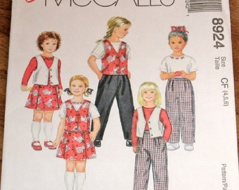 McCall's 8924 Girls Non Stop Wardrobe, Culottes Skirt Skort Vest Top Pants Easy Sewing Pattern Size 4 5 6 Chest 23 24 25 Uncut Factory Folds
