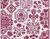 The Token Valentine's Day cross stitch pattern by Long Dog Samplers at thecottageneedle.com monochromatic Quaker February love sweetheart