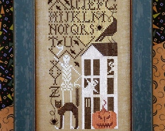 Simply Scary Simple Samplers : The Drawn Thread cross stitch patterns All Hallow's Eve October skeleton black cat Halloween embroidery