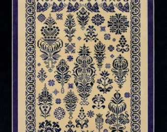 Midnight in the Garden sampler cross stitch pattern by Sampler Cove at thecottageneedle.com monochromatic