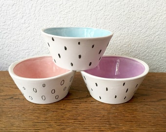 DOTS porcelain slipcast ceramic bowls set of three