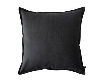 Black decorative pillow cover, Black linen pillow, Black accent pillow, Black throw pillow covers, Black sofa cushions, Black linen cushion
