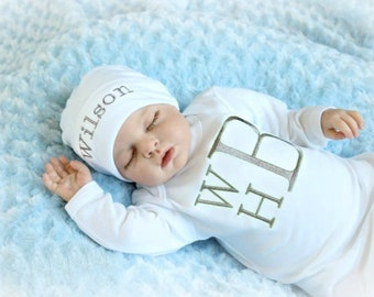 Monogram Newborn Baby Boy Clothes Personalized Baby Boy Take Home Outfit 3 Letter Mongrmmed Baby Layette Personalized Baby Gifts Set