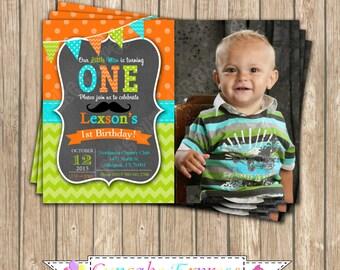 Little Man One First Birthday Invitation BOY PRINTABLE chalkboard Photo Invitation #6 mustache orange lime green aqua 1st birthday diy