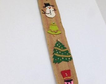 Rustic Christmas Bell Pull Handmade Burlap and Felt Door Hanger Hanging