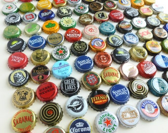 Beer Bottle Caps Lot Craft Brews Microbrews Domestic Import Northeast 100 Assorted Mixed Pieces Used