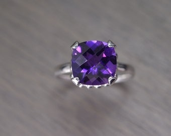 Darcy Ring, african amethyst 4ct, cushion prong solitaire FEBRUARY BIRTHDAY