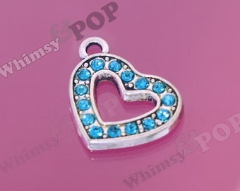 1 - Aquamarine Blue Love Heart Rhinestone Charm, Heart Charm, Heart Pendant, 18mm x 20mm (2-3J)