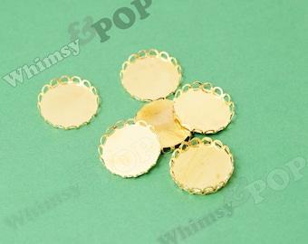 Gold Tone Raw Brass Cabochon Settings, Lace Edge Bezel Cabochon Setting, Pad: 20mm (R9-020)
