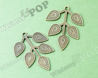Antique Bronze Leaves on Tree Branch Charm, Leaves Charm, 39mm x 32mm (R9-028)