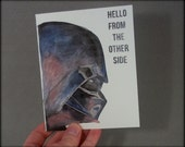 Hello from the other side- Watercolor print Card- Star Wars/ DarthVader/ Adele inspired- blank inside