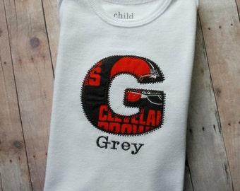 Personalized Initial onesie- baby girl, baby boy, football onesie, initial onesie, monogrammed onesie, baby shirt