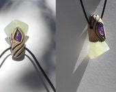 Prehnite pendant with Amethyst / prehnite / purple green / prehnite jewelry / khayanite / jewelry / pendant / MEDITATION / prehnite pendant