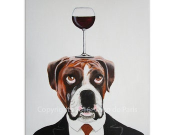 Boxer Painting, Wine Art, Boxer Dog,  Dog with wineglass by painter Coco de Paris
