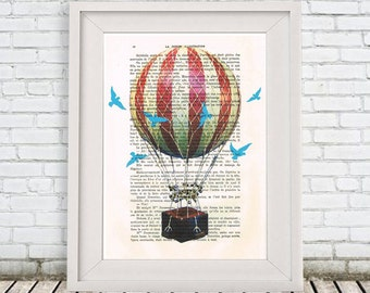 Hot Air Balloon Print, Birds with Airballoon, Fly, Dictionary Art Print, Nice Christmas Gift, Blue and Red, Wall Art,Wall Decor,Gift for men