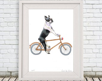 Boston terrier Painting, handpainted on high quality 250g Art paper, Boston Terrier Art, by painter Coco de Paris: Boston Terrier on bicycle