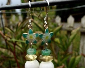 White Quartz, Citrine, Kiwi Jasper and Sterling Silver Enamel Flower Earrings