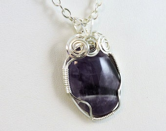 Banded Amethyst Necklace, Wire Wrapped Gemstone Necklace, Gemstone Jewelry, Amethyst Jewelry