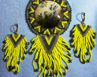 Spanish Point Cabochon Broch-Necklace Beaded wirh matching Earrings (J-010)