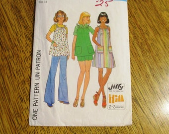 1970s JIFFY A-Line Tank Dress with Drawstring Neckline & Wide Leg Pants or Shorts - Size 12 - VINTAGE Sewing Pattern Simplicity 7551