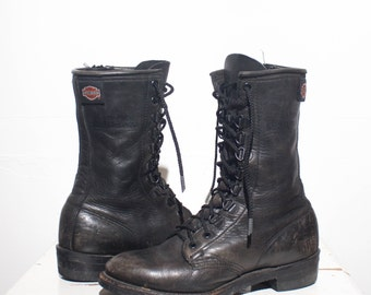 7 | Women's Vintage Harley Davidson Zippered Motorcycle Boots Black Leather Boots