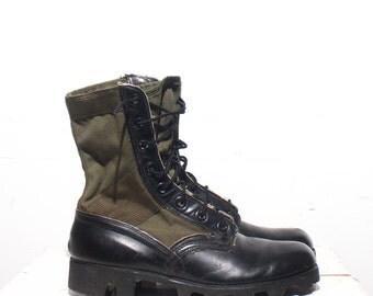 6 R | 7.5 Women | Vintage Jungle Boots Vietnam Era Combat Boots Dated 1970